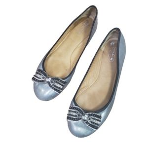 Coach Pewter Rhinestone Bow Flats Ballet Shoes